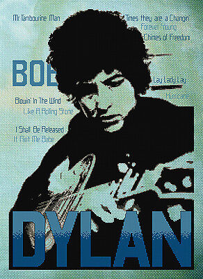 Bob Dylan - Cross Stitch Chart by Fiona Jude. Looks great on a 'tie dyed' fabric
