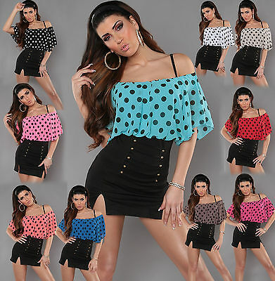 New Sexy Women Clubbing Top Blouse Boat Neck Ladies Party Shirt 6 8 10 12 S M L