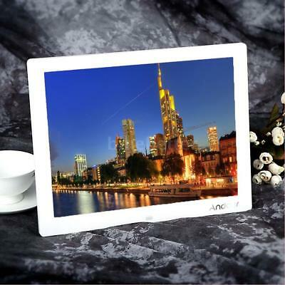"""Andoer 15"""" HD LCD Digital Photo Frame Picture Movie Player Remote Control White"""