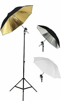 Photography Photo Studio Flash Mount Umbrellas Kit Three Umbrellas By Fancier...