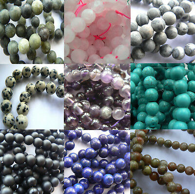 Natural Stone & Gemstone - 8mm Rounds - Smooth, Frosted or Faceted - You Choose!