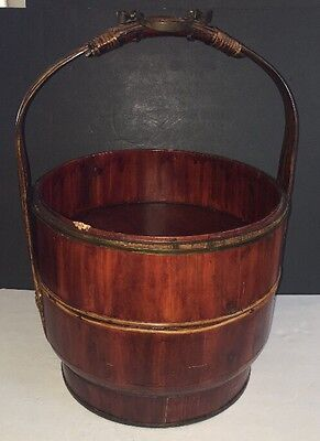 """Chinese Wedding Basket Wood with metal handle approx. 20"""" Tall Antique Tiered"""