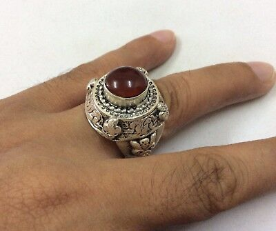 Stunning Stone Carnelian Ring Unisex Unique Filigree Engraved Medieval Silver 9