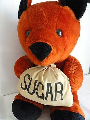 "RARE TEDDY BEAR ANTIQUE 18"" ""SUGAR"" ADVERTISER STRAW STUFFED Cinnamom/Black EXC."