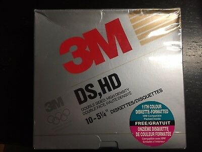 Box of 11 3M 5 1/4 in 5.25' DS HD Brand New Old Stock NOS Floppy Diskettes