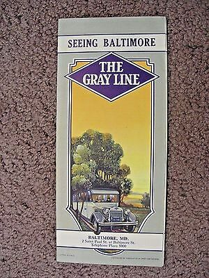 """1928 The Gray Line  """" Seeing Baltimore """"  Bus Motor Tour Brochure"""