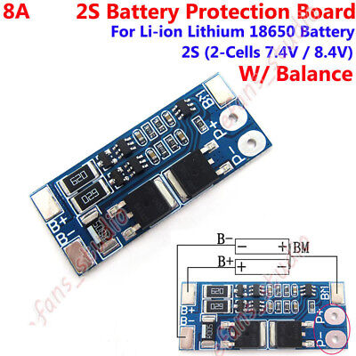 BMS Protection PCB Board 7.4V 8.4V 2S 8A w/ Balance 18650 Li-ion Lithium Battery