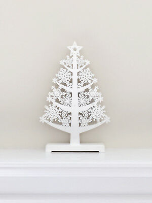 LIND SYA's White Wooden Snowflake Pattern Christmas Tree Stand with LED Lights