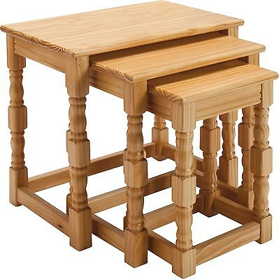 HOME Devon Nest of 3 Tables - Solid Pine with Oak Effect.