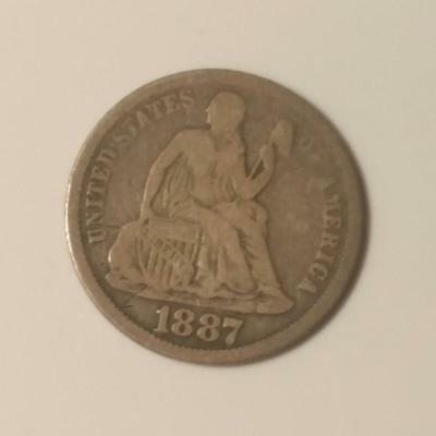 1887 10 cents Liberty Seated Dime (RC4082)