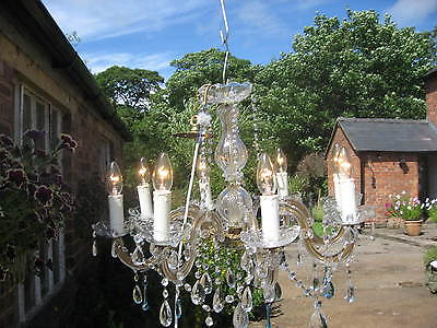 Large Antique Style Vintage Cut Glass 8 Branch Crystal Chandeliers /3943