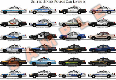 United States police force car liveries poster Ford Crown Victoria LAPD NYPD