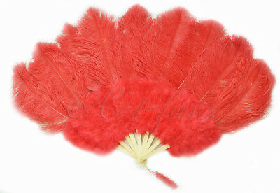 "A pair of red Marabou & Ostrich feathers fan Burlesque 24""x 43"""
