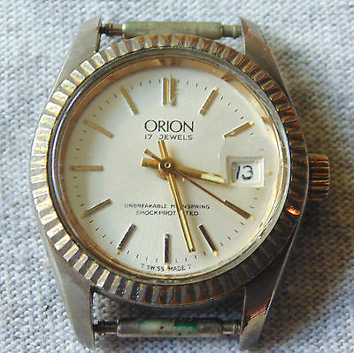 Vintage ORION 17 Jewels Swiss Made Women's Ladies Wrist Watch Date Works Well