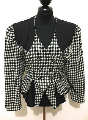 CULT VINTAGE '80 Giacca Donna Lana Piedipull Wool Woman Jacket Sz.L - 46