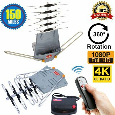 NEW! HDTV Outdoor Amplified Antenna HD TV Rotor Remote 360° UHF/VHF/FM 150 Miles