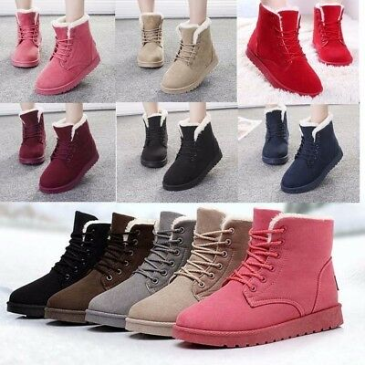 Fashion Women Lady Winter Warm Fur Lined Mid-calf Snow Flats Ankle Boots Shoes