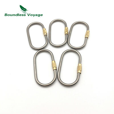 Boundless Voyage 5/10pcs Titanium Alloy Locking Carabiner Outdoor Camping Hook