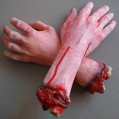 Halloween Zombie Hand Bloody Horror Scary Fake Severed Life Size Arm Haunted