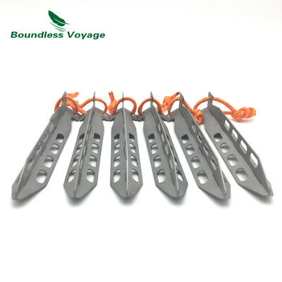 [6pcs] Boundless Voyage Y-Shape Titanium Alloy Tent Stakes Ground Pegs 25.3g