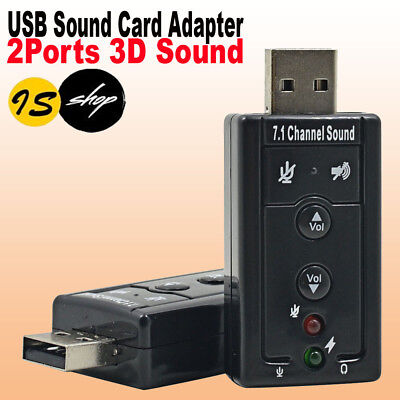 USB 2.0 3D SOUND CARD EXTERNAL ADAPTER VIRTUAL 7.1 CH MIC Headphone Win 7 MAC OS