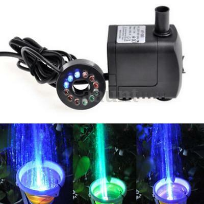 LED Light Submersible Water Pump Aquariums KOI Fish Pond Fountain Sump Waterfall