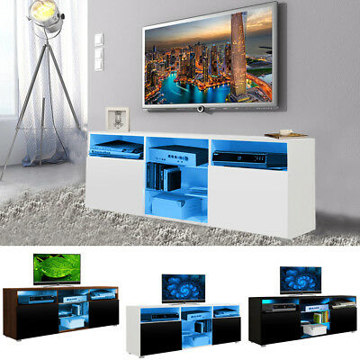 Modern TV Stand Cabinet with LED Lights High Gloss Entertainment Wall Side Unit