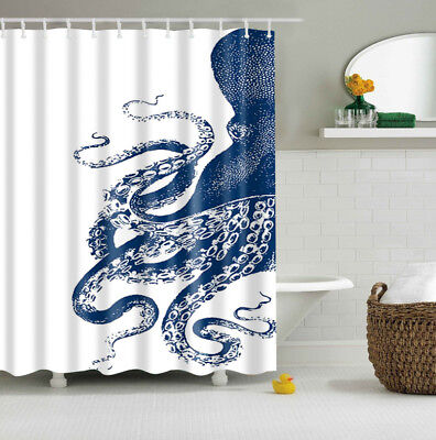 "2 Colors Octopus Kraken Pattern Custom Shower Curtain Polyester Fabric 60""x71"""