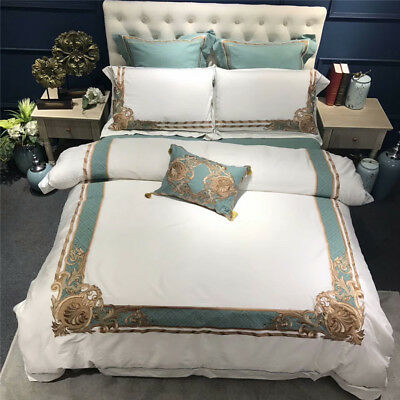 Oriental Embroidered Luxury Egyptian Cotton Bedding Set Duvet Cover Bed Sheet