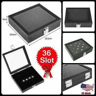 Glass Top Display Case 36 Slot Ring Insert Liner , Storage Jewelry Box Holder BP
