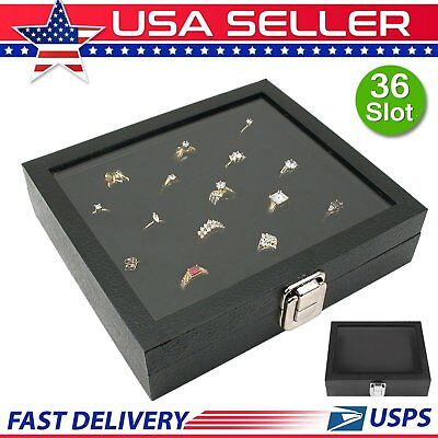 Ring Box 36 Slot Jewelry Case Organizer Storage Holder Tray Display Glass Top BP