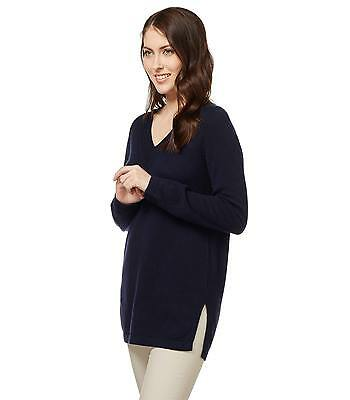 WoolOvers Womens Cashmere Merino Relaxed Casual Long Sleeve V Neck Tunic Top