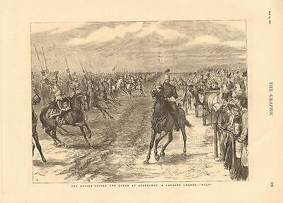 1880 Antique Print - Review At Aldershot-A Cavalry Charge