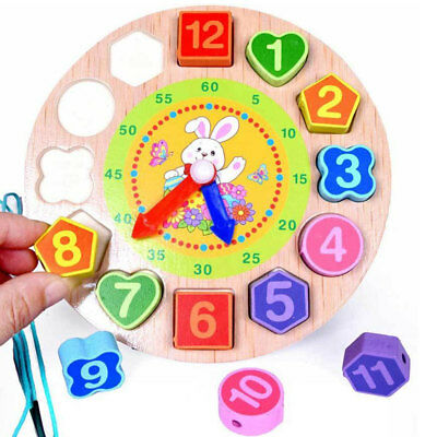 Baby Kids Wooden Early Educational Toy Geometry Clock Block Puzzle Montessori