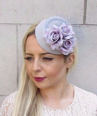 Grey Lilac Rose Flower Pillbox Hat Fascinator Races Wedding Hair Clip Hair 3740