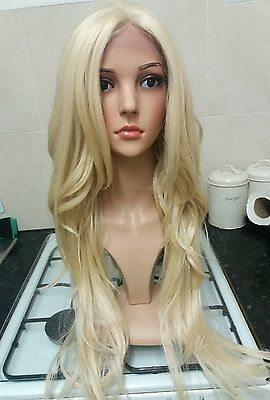 100% human hair lace wig, Swiss lace, silk based lace, hand tied, bleach blonde