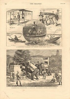 1880 Antique Print - Afghanistan-Fortifying A Position-Elephants Razing Outbuild