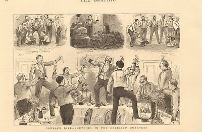 1880 Antique Print - Barrack Life Sketches In The Officers Quarters