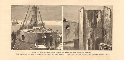 """1880 Antique Print - Capture Of """"huascar"""", After Action With Chilian Ironclads"""