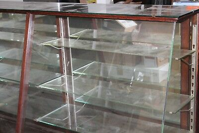Antique Mahogany Frame Display Case 6' Long With Mirrored Sliding Panel Doors