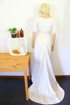 Vintage wedding dress white lace bodice long train 1940's 50's boho bride bridal