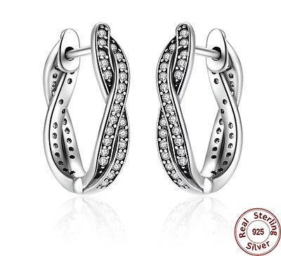Solid 925 Silver Sterling TWIST OF FAITH HOOP EARRING European Studs +gift Pouch