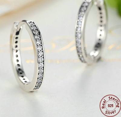 Real Solid 925 Silver Sterling ROUND HOOP Sparkling EARRINGS Studs+gift pouch