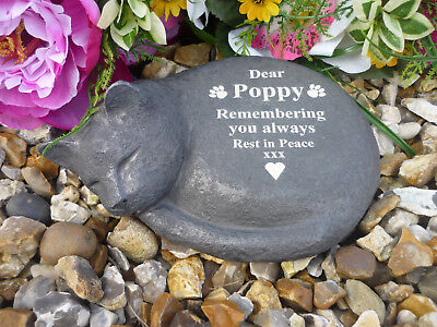 Cat Memorial - Sleeping Cat - Personalised - Weatherproof - Various Cat Designs