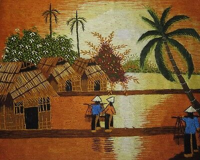 Completed Long Stitch Embroidery Asian Rice Paddy Sunset Orange Yellow Tan Palm
