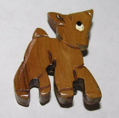 Vtg 1940's Hand Made Folk Art Wood Costume Jewelry Pin, Easter Lamb