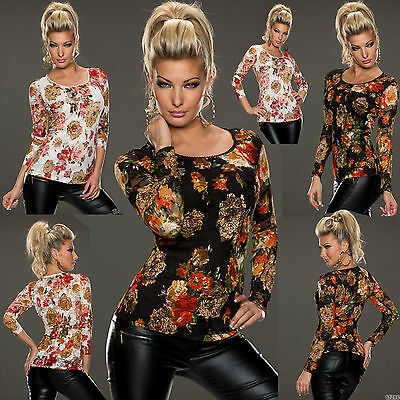 Top Women Clubbing Blouse Ladies Party Floral Sexy Shirt UK Size 6 8 10 12