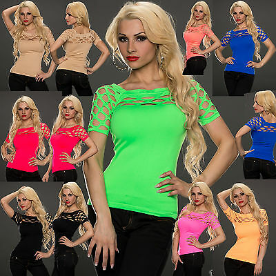 Women Clubbing Top Ladies Blouse Party Cut Out Mesh Sexy Shirt Size 6 8 10 12 14