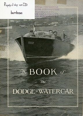 Vintage Original 1927 Book Of The Dodge Watercar Boat Catalog