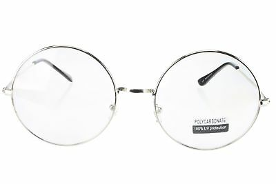 Clear Round Lens Glasses Fake Reader Oversized 60mm Metal Frame Silver